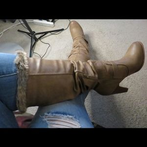 Karissa Brown/Tan Faux Leather Boots (Size 11)